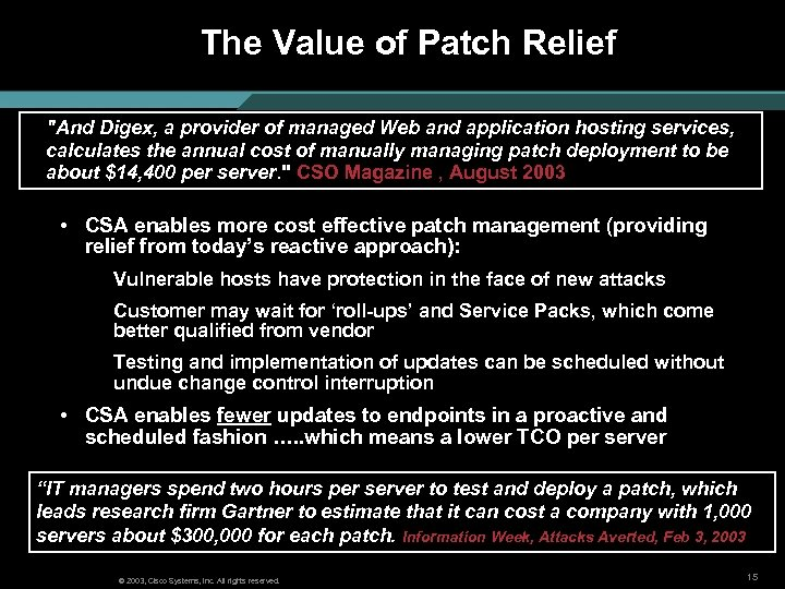 The Value of Patch Relief