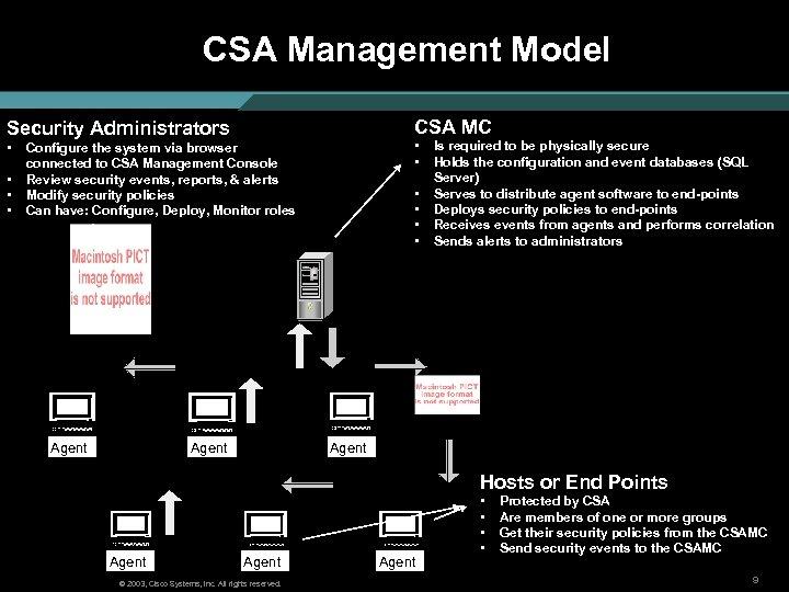 CSA Management Model CSA MC Security Administrators • • • Configure the system via