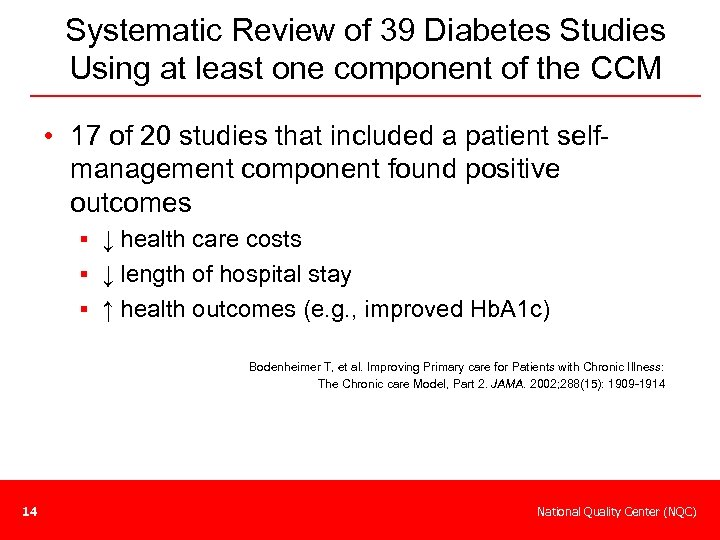 Systematic Review of 39 Diabetes Studies Using at least one component of the CCM