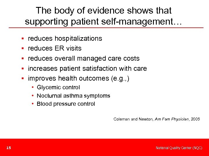 The body of evidence shows that supporting patient self-management… § reduces hospitalizations § reduces