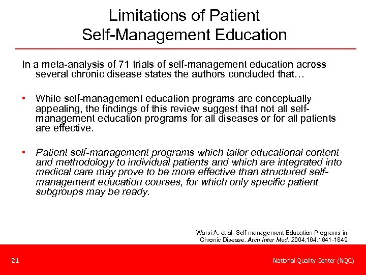Limitations of Patient Self-Management Education In a meta-analysis of 71 trials of self-management education