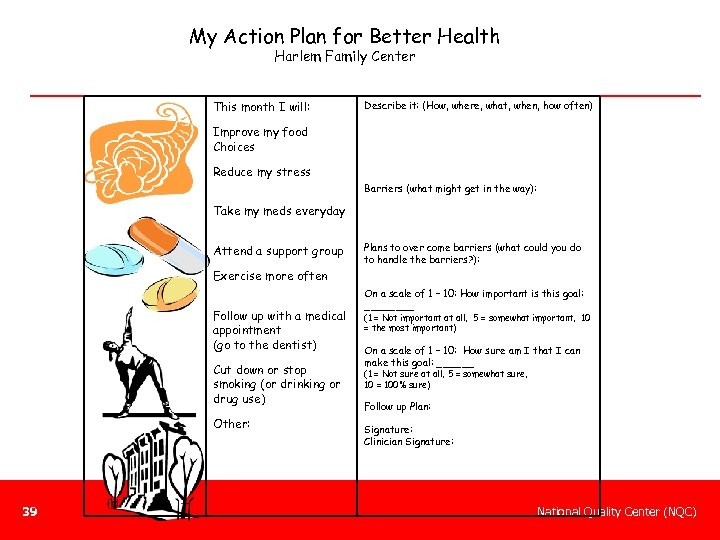 My Action Plan for Better Health Harlem Family Center This month I will: Describe