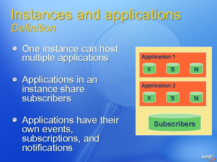 Instances and applications Definition One instance can host multiple applications Application 1 E Applications