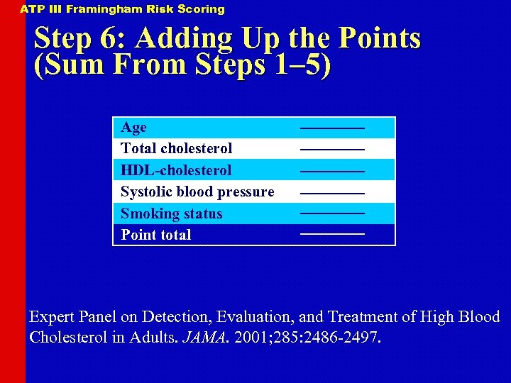ATP III Framingham Risk Scoring Step 6: Adding Up the Points (Sum From Steps