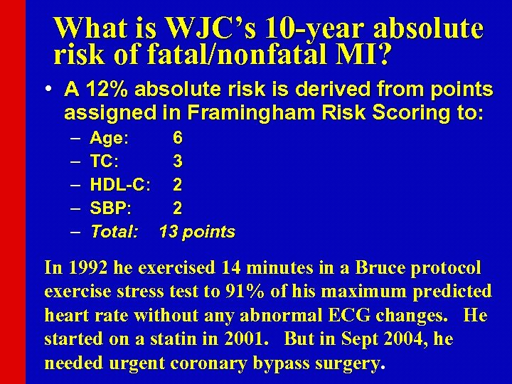 What is WJC's 10 -year absolute risk of fatal/nonfatal MI? • A 12% absolute
