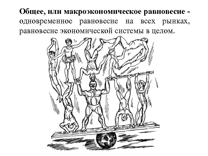 Общее, или макроэкономическое равновесие одновременное равновесие на всех рынках, равновесие экономической системы в целом.