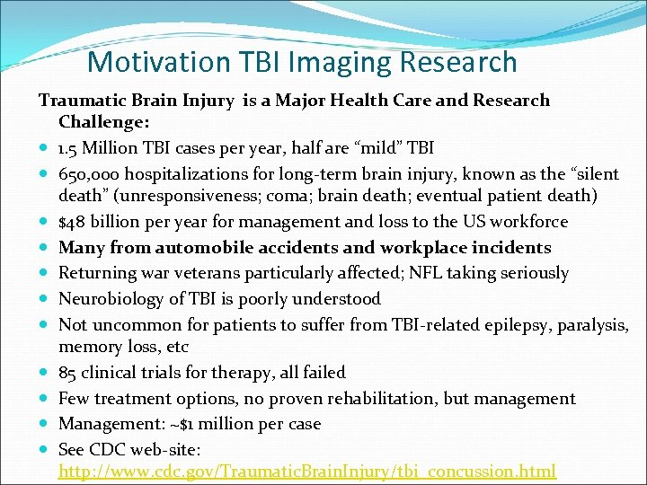 Motivation TBI Imaging Research Traumatic Brain Injury is a Major Health Care and Research