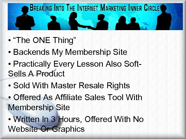 """Affiliate Marketing Methods Viral Ebook • """"The ONE Thing"""" • Backends My Membership Site"""