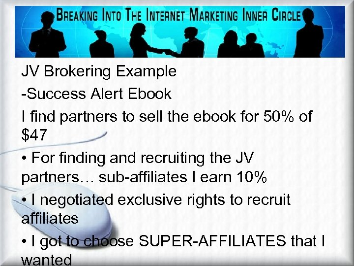 JV Brokering Example -Success Alert Ebook I find partners to sell the ebook for