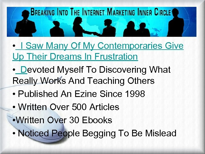 Develop Purpose And Focus • I Saw Many Of My Contemporaries Give Up Their