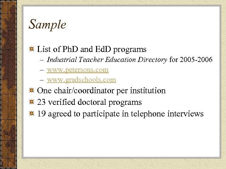 Sample List of Ph. D and Ed. D programs – Industrial Teacher Education Directory