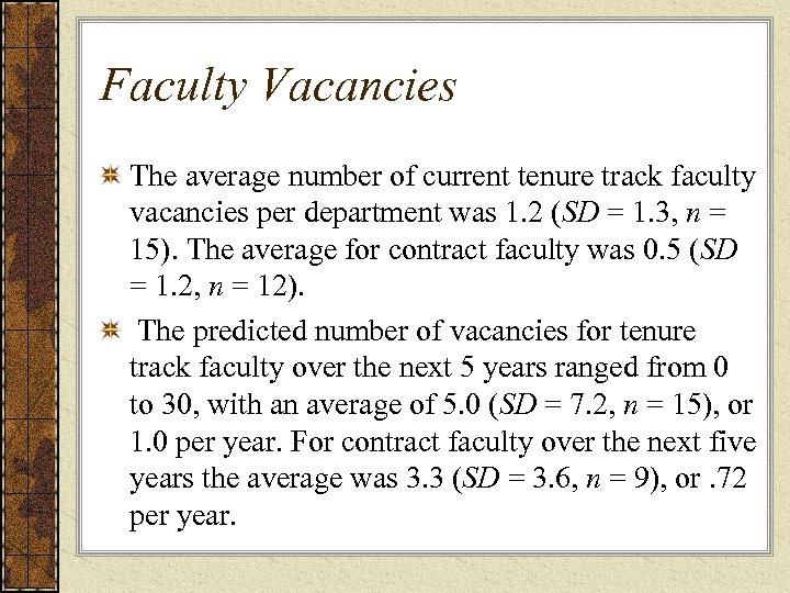 Faculty Vacancies The average number of current tenure track faculty vacancies per department was