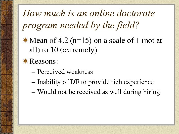 How much is an online doctorate program needed by the field? Mean of 4.