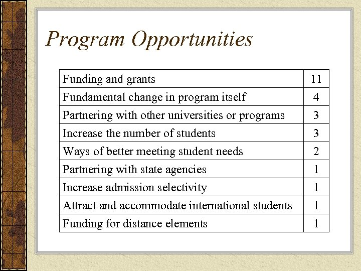Program Opportunities Funding and grants Fundamental change in program itself Partnering with other universities
