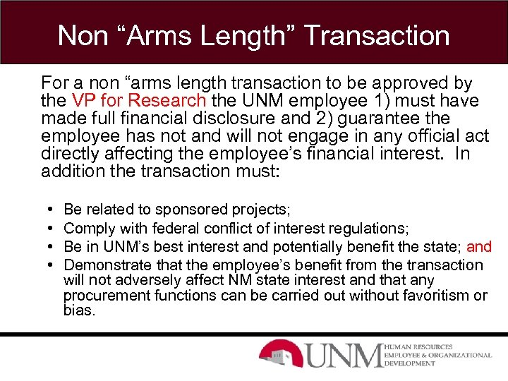 """Non """"Arms Length"""" Transaction For a non """"arms length transaction to be approved by"""