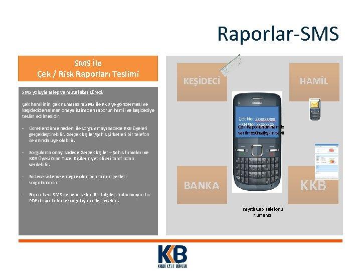 Raporlar-SMS İle Çek / Risk Raporları Teslimi KEŞİDECİ HAMİL SMS yoluyla talep ve muvafakat