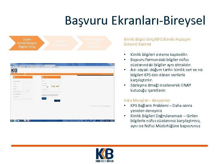 Başvuru Ekranları-Bireysel Üyelik Kimlik/İletişim Bilgileri Giriş Kimlik Doğrulama Banka Bilgileri Teyit OTP Kontrolü Kimlik