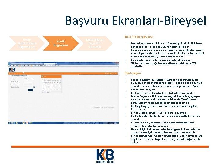 Başvuru Ekranları-Bireysel Üyelik Kimlik/İletişim Bilgileri Giriş Kimlik Doğrulama Banka Bilgileri Teyit OTP Kontrolü Banka