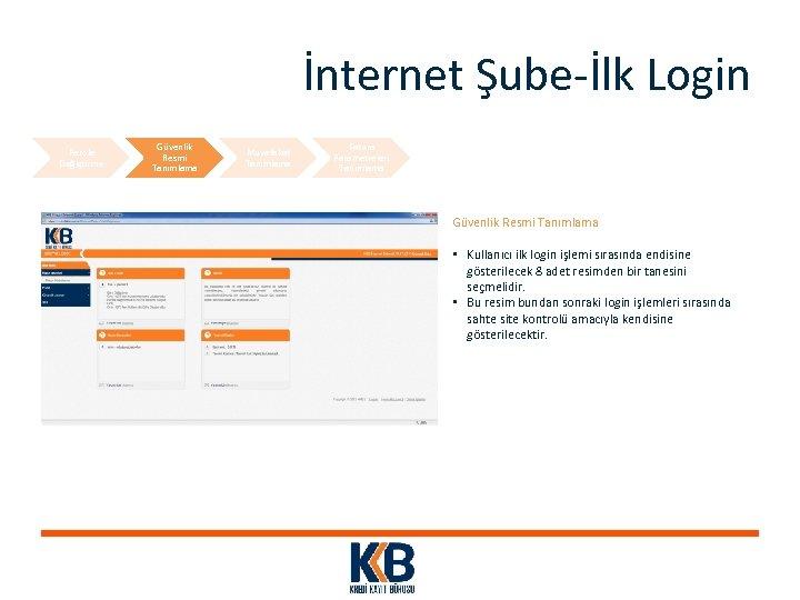 İnternet Şube-İlk Login Parola Değiştirme Güvenlik Resmi Tanımlama Muvafakat Tanımlama Fatura Parametreleri Tanımlama Güvenlik