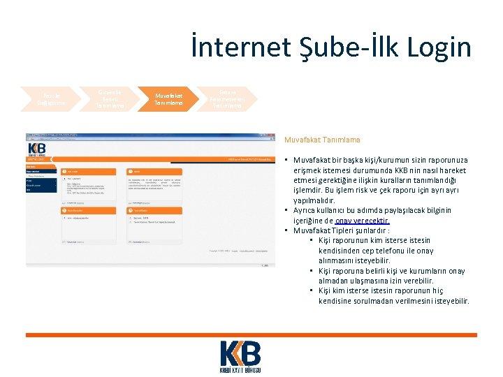 İnternet Şube-İlk Login Parola Değiştirme Güvenlik Resmi Tanımlama Muvafakat Tanımlama Fatura Parametreleri Tanımlama Muvafakat