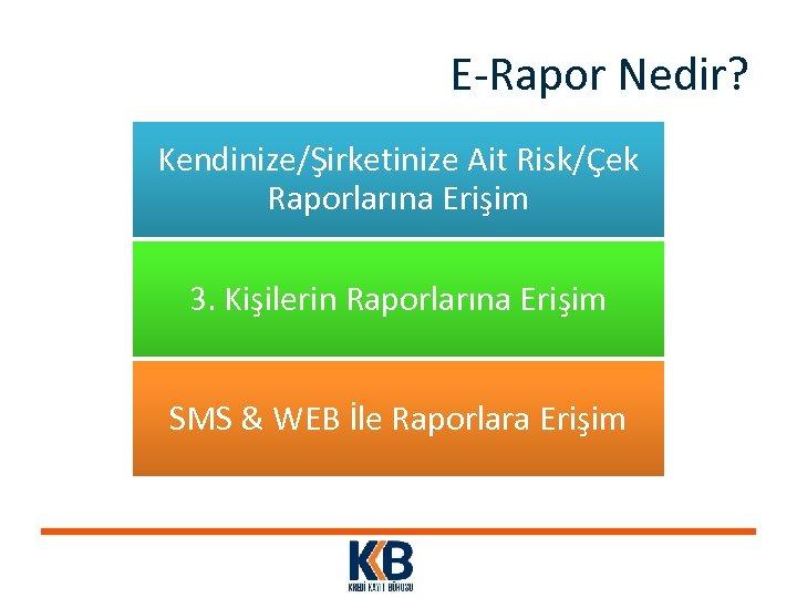 E-Rapor Nedir? Kendinize/Şirketinize Ait Risk/Çek Raporlarına Erişim 3. Kişilerin Raporlarına Erişim SMS & WEB