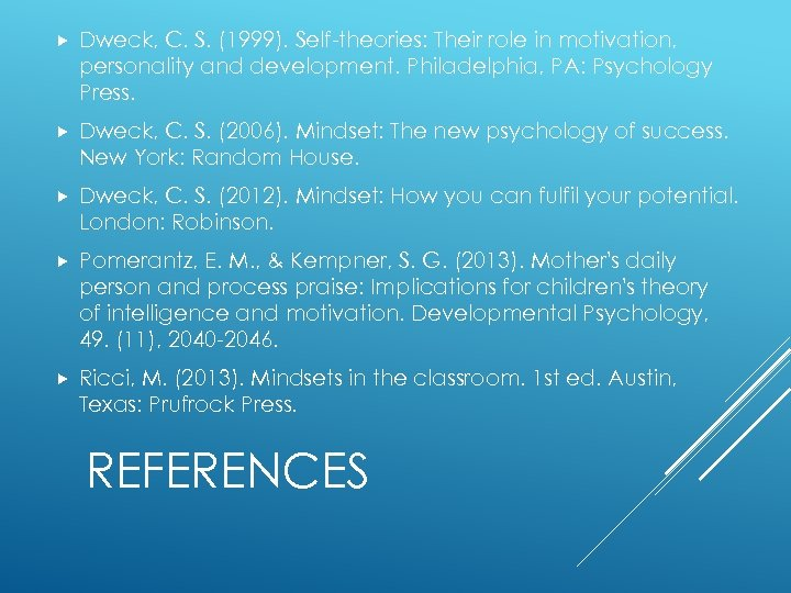Dweck, C. S. (1999). Self-theories: Their role in motivation, personality and development. Philadelphia,