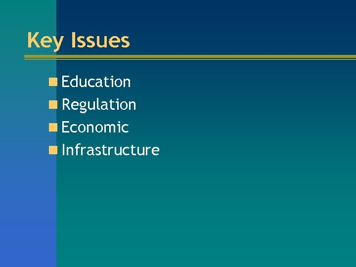 Key Issues n Education n Regulation n Economic n Infrastructure