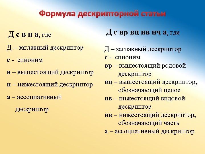 Формула дескрипторной статьи Д с в н а, где Д с вр вц нв
