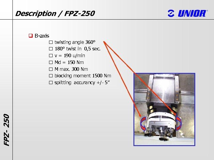 Description / FPZ-250 q B-axis FPZ- 250 twisting angle 360° 180° twist in 0,