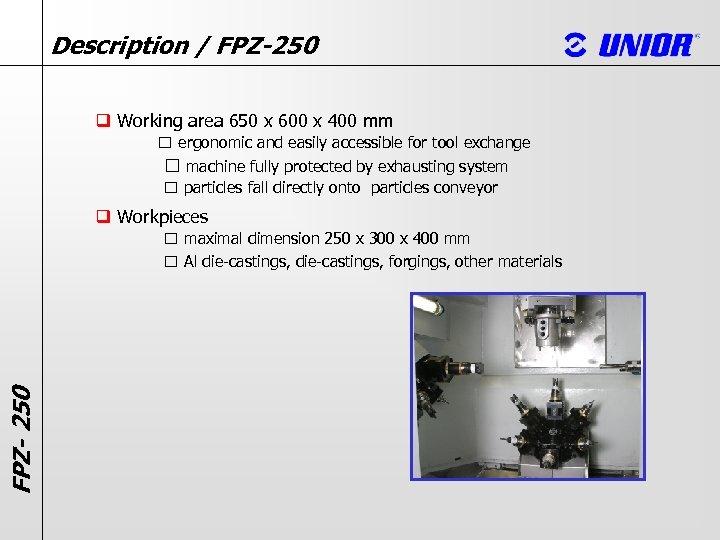 Description / FPZ-250 q Working area 650 x 600 x 400 mm ergonomic and