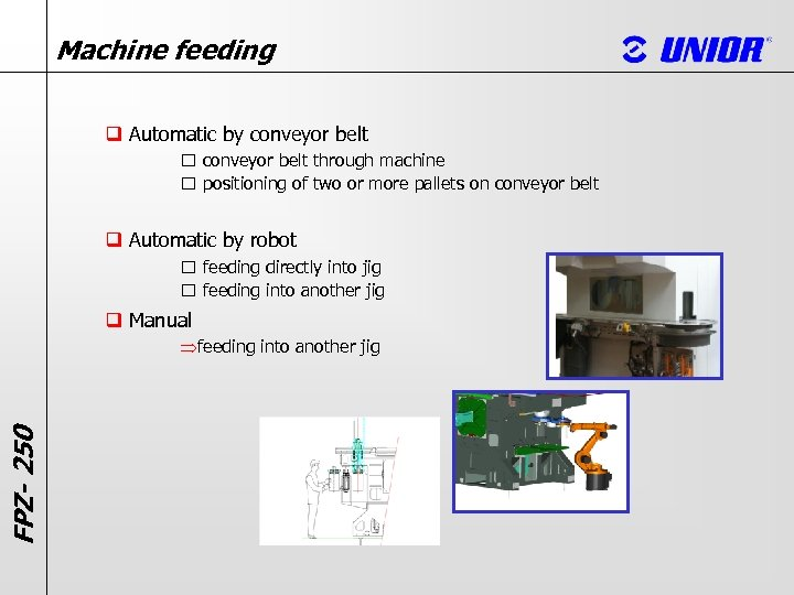Machine feeding q Automatic by conveyor belt through machine positioning of two or more