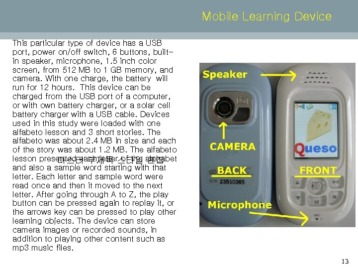 Mobile Learning Device This particular type of device has a USB port, power on/off