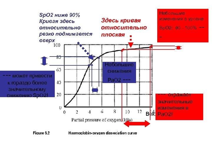 Sp. O 2 ниже 90% Кривая здесь относительно резко поднимается вверх --- может привести