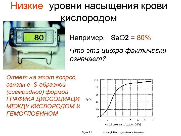 Низкие уровни насыщения крови кислородом 80 Например, Sa. O 2 = 80% Что эта