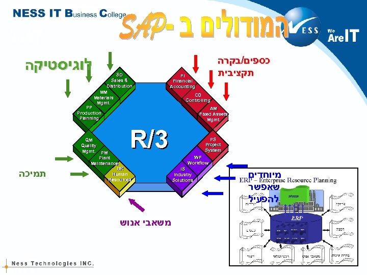 לוגיסטיקה SD Sales & Distribution MM Materials Mgmt. FI Financial Accounting CO Controlling