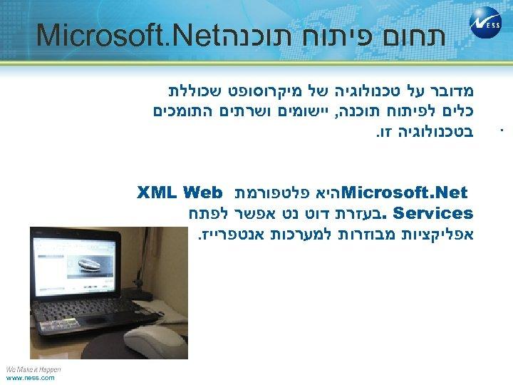 תחום פיתוח תוכנה Microsoft. Net . מדובר על טכנולוגיה של מיקרוסופט שכוללת כלים