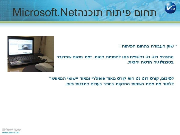 תחום פיתוח תוכנה Microsoft. Net . שוק העבודה בתחום הפיתוח : מתכנתי דוט
