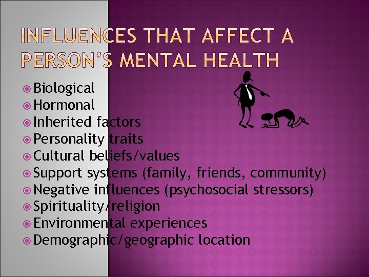 Biological Hormonal Inherited factors Personality traits Cultural beliefs/values Support systems (family, friends, community)