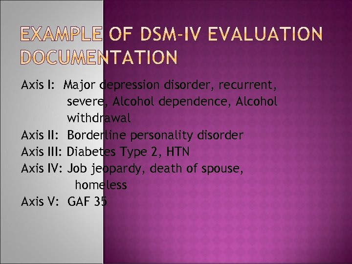 Axis I: Major depression disorder, recurrent, severe, Alcohol dependence, Alcohol withdrawal Axis II: Borderline