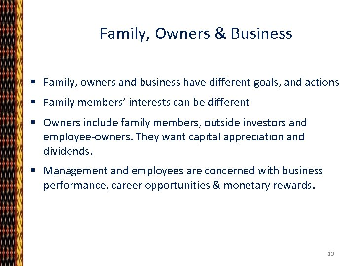 Family, Owners & Business § Family, owners and business have different goals, and actions