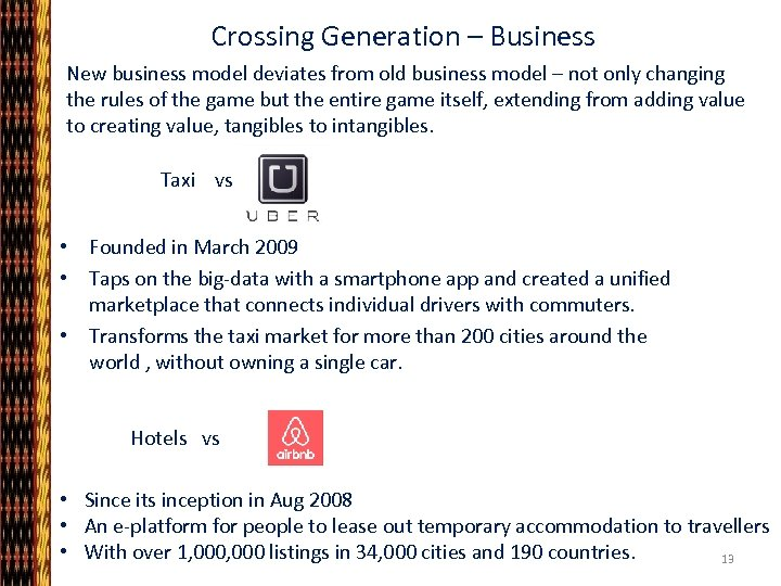 Crossing Generation – Business New business model deviates from old business model – not