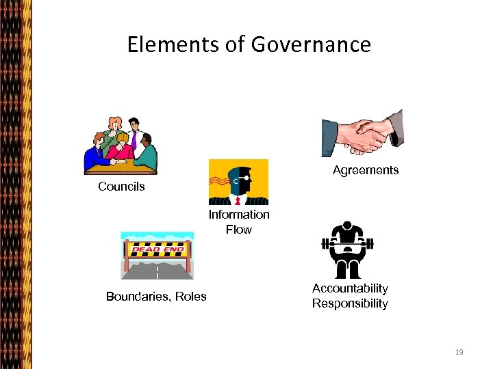 Elements of Governance Agreements Councils Information Flow Boundaries, Roles Accountability Responsibility 19
