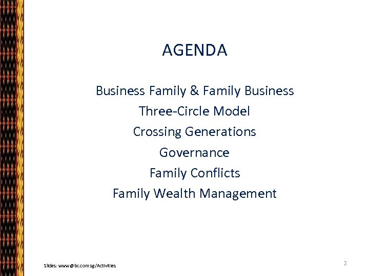 AGENDA Business Family & Family Business Three-Circle Model Crossing Generations Governance Family Conflicts Family