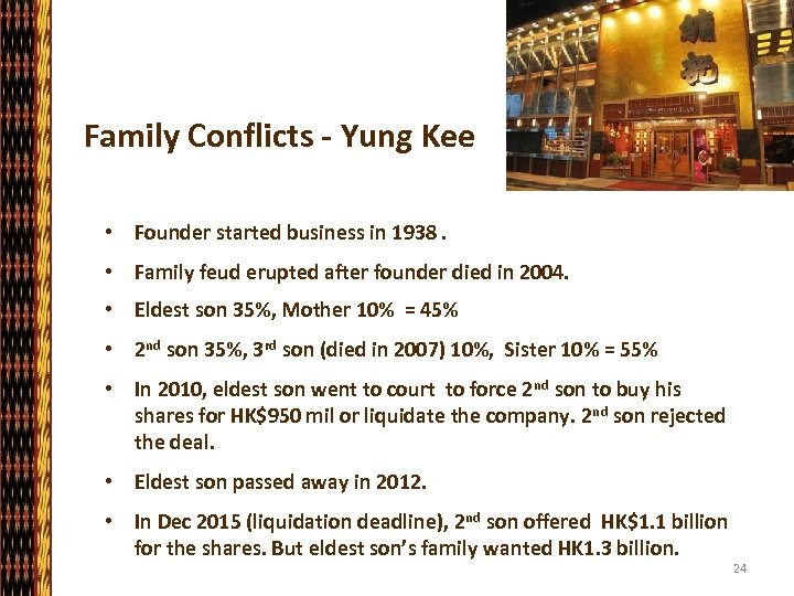 Family Conflicts - Yung Kee • Founder started business in 1938. • Family feud
