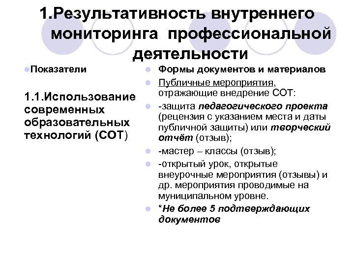 1. Результативность внутреннего мониторинга профессиональной деятельности l. Показатели l l 1. 1. Использование современных