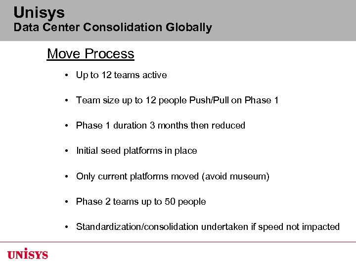Unisys Data Center Consolidation Globally Move Process • Up to 12 teams active •