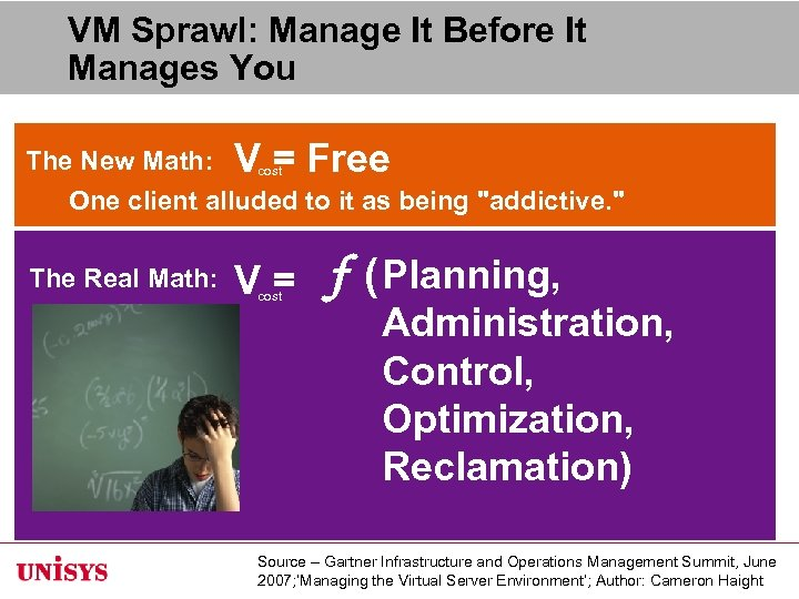 VM Sprawl: Manage It Before It Manages You The New Math: V = Free