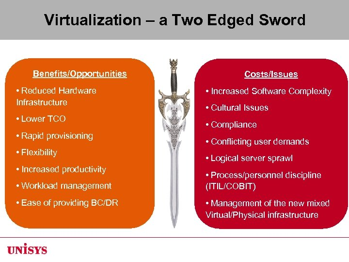 Virtualization – a Two Edged Sword Benefits/Opportunities • Reduced Hardware Infrastructure • Lower TCO