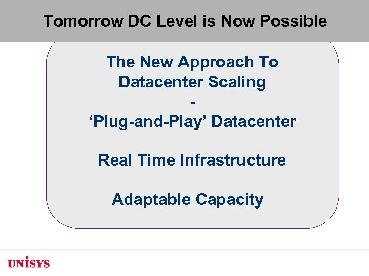 Tomorrow DC Level is Now Possible The New Approach To Datacenter Scaling 'Plug-and-Play' Datacenter