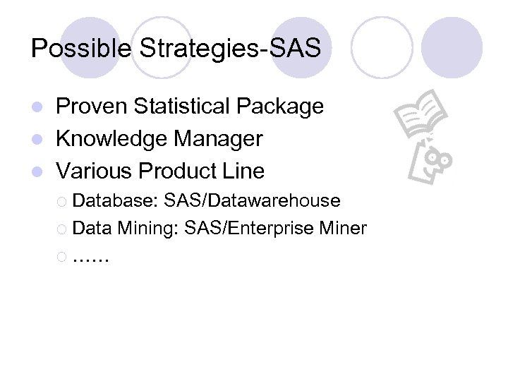 Possible Strategies-SAS Proven Statistical Package l Knowledge Manager l Various Product Line l ¡